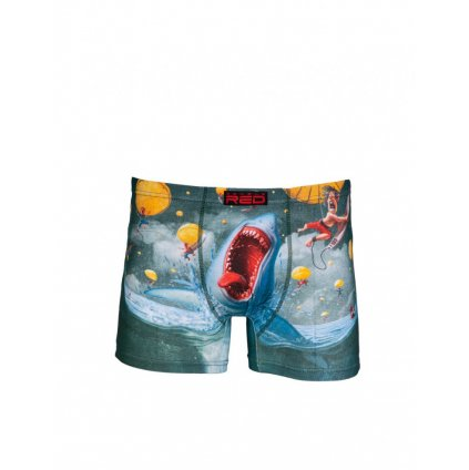 DOUBLE RED  2FUN Boxers Mad Shark Green