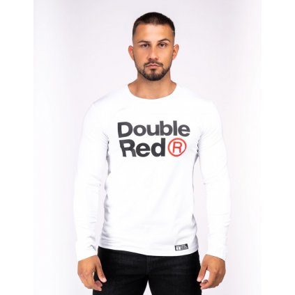 Tričko  DOUBLE RED  Red Neon Long Sleeve T-Shirt White