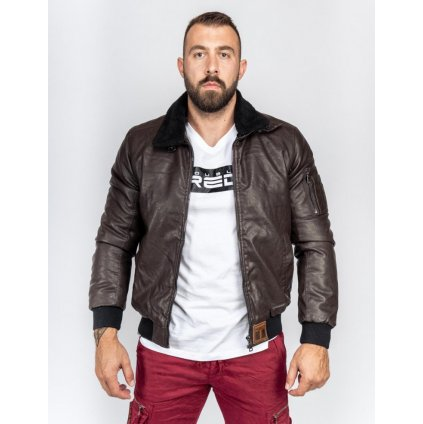Bunda  DOUBLE RED  WRAITH Leather Jacket Brown