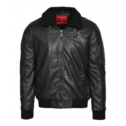 Bunda  DOUBLE RED  WRAITH Leather Jacket Black