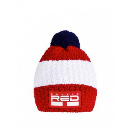 Čiapka  DOUBLE RED COURCHEVEL Pompom Cap Red/White
