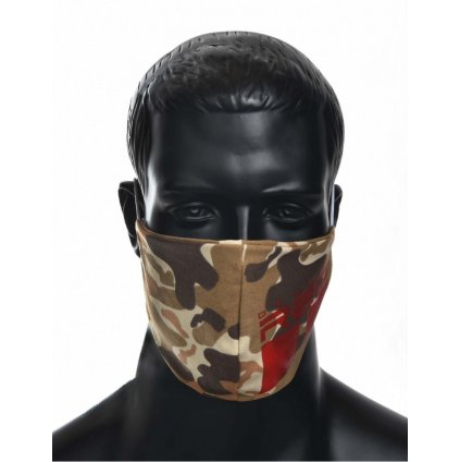 DOUBLE RED  MASK Soldier Trademark Logo Red