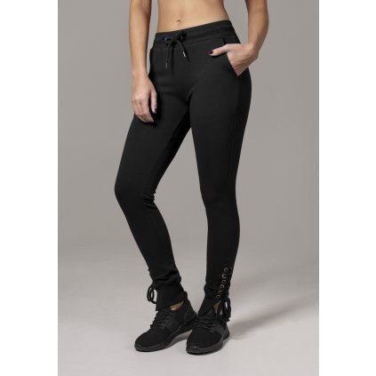 Tepláky  Ladies Fitted Lace Up Pants black