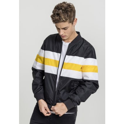 Striped Nylon Jacket black/white/chromeyellow
