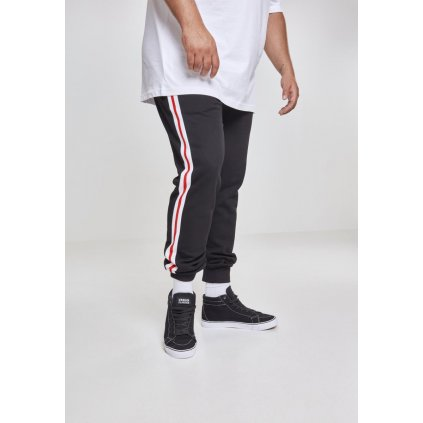 Tepláky  3-Tone Side Stripe Terry Pants blk/wht/firered