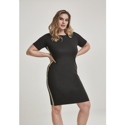 Ladies Multicolor Side Taped Dress black
