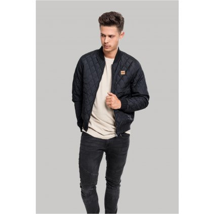 Diamond Quilt Nylon Jacket black