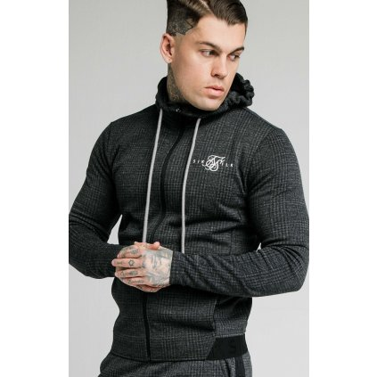 Pánska mikina  SIKSILK TONAL CHECK AGILITY ZIP THROUGH HOODIE