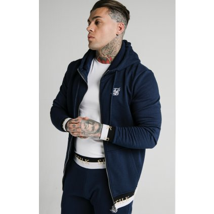 Pánska mikina  SIKSILK DELUXE ZIP THROUGH FUNNEL NECK HOODIE