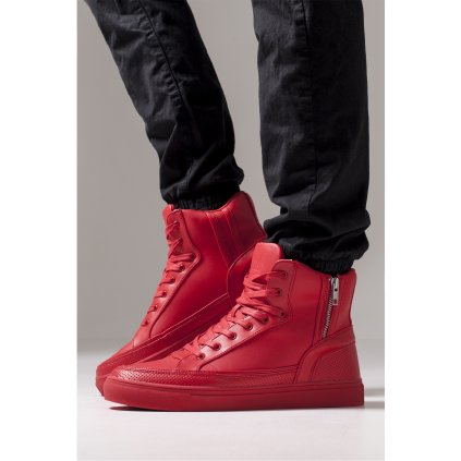 Zipper High Top Shoe fire red