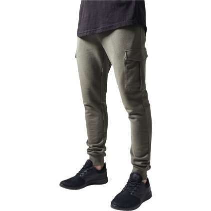 Tepláky  Fitted Cargo Sweatpants olive