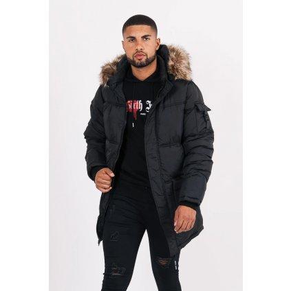 Long Fur Puffer Jacket Black