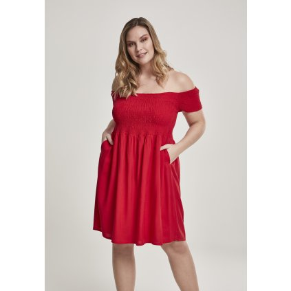 Ladies Smoked Off Shoulder Dress fire red