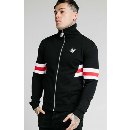 Pánska mikina  SIKSILK LUXE ZIP THROUGH FUNNEL NECK HOODIE