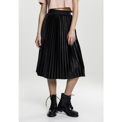 Ladies Velvet Plisse Skirt black