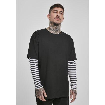 Pánske tričko  Oversized Double Layer Striped LS Tee black