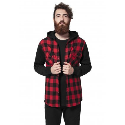 Hooded Checked Flanell Sweat Sleeve Shir blk/red/bl