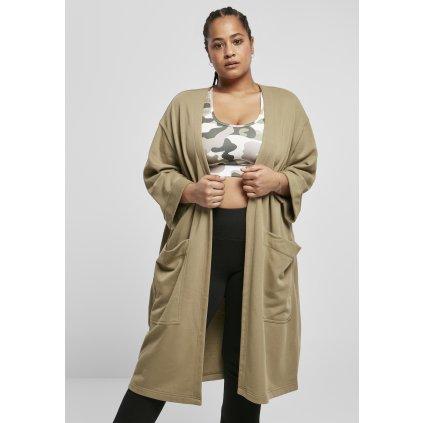 Ladies Oversized Terry Cardigan khaki