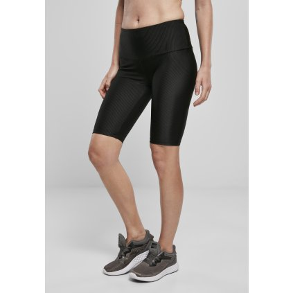 Legíny  Ladies High Waist Shiny Rib Cycle Shorts black
