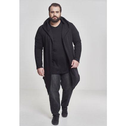 Long Hooded Open Edge Cardigan black