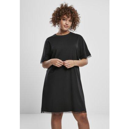 Ladies Boxy Lace Hem Tee Dress black