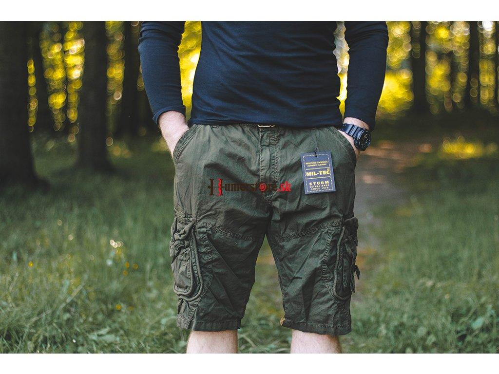 e31ea9edf14b Mil-tec Vintage krátke nohavice Prewash olivové - Krátke nohavice ...