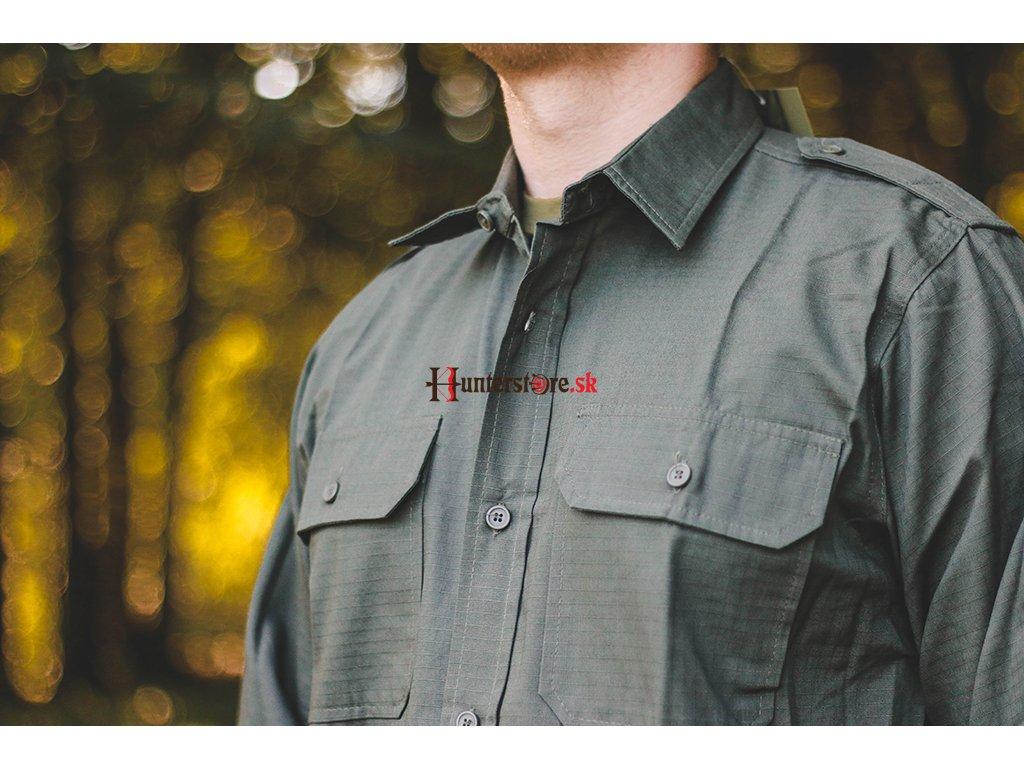 12beb2ea5c59 army košeľa olivová košeľa Košeľa Ripstop dlhý rukáv - olivová ...