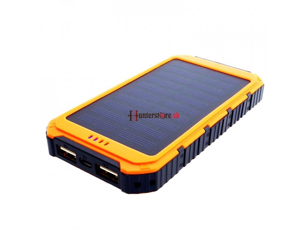 Power Bank 6000mAh (22,2Wh) so solárnym panelom 0,8W, výstup: USB 5V, 1A - 5V, 2A