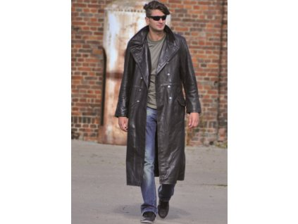 Kožený kabát, čierny