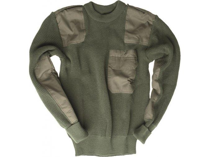Armádny vlnený sveter s vreckom olivový