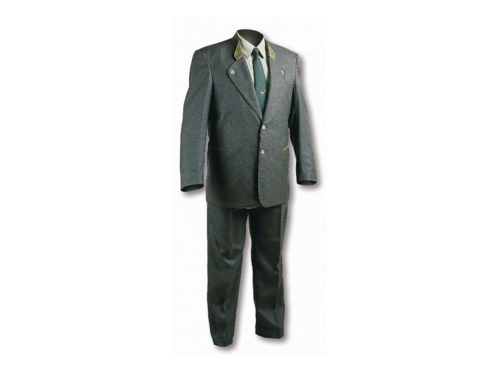 Oblek M se zeleným doplňkem