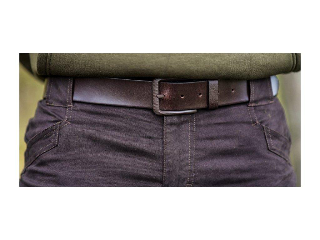 Pásek kožený hnědý - hladký