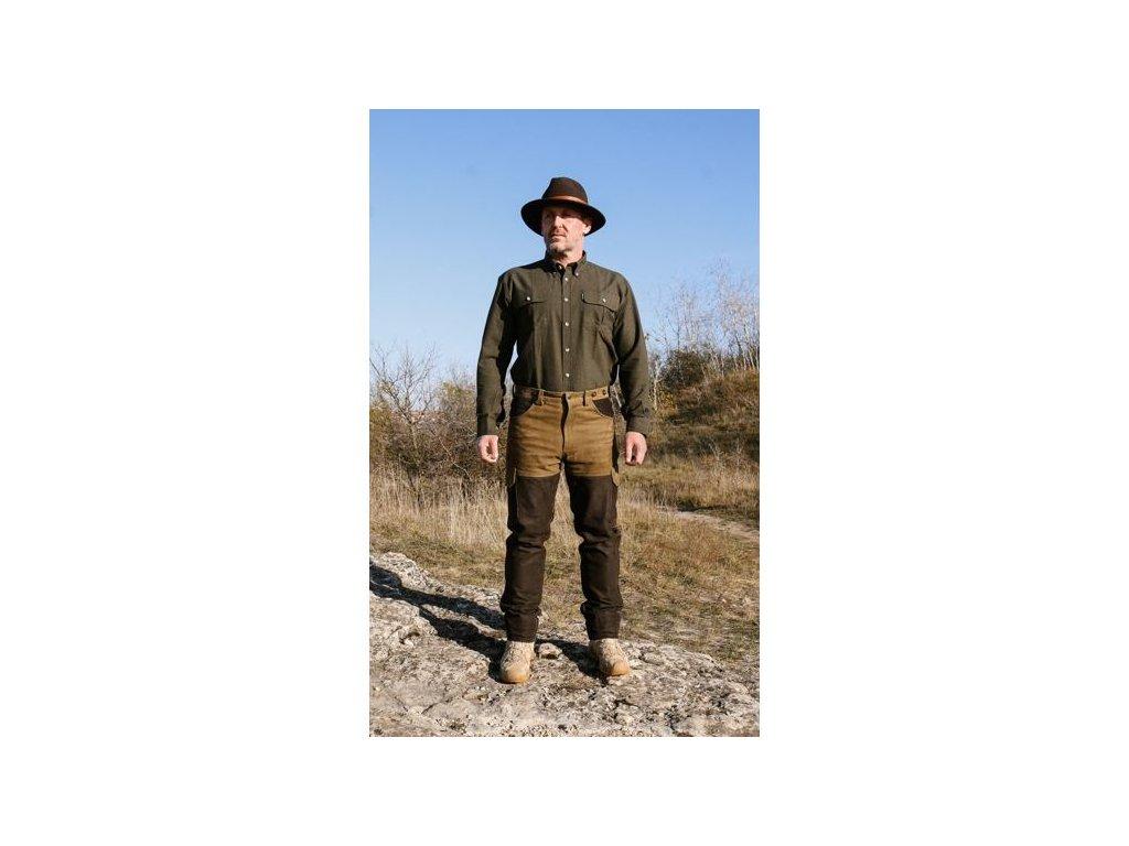 Kalhoty kožené zeleno-hnědé Carl Mayer Ramsau