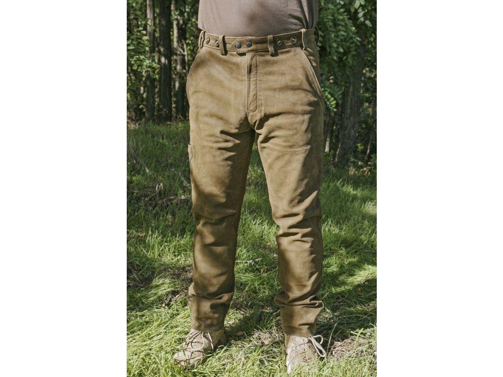 Kalhoty kožené zelené Carl Mayer Rabenau Olivgrün