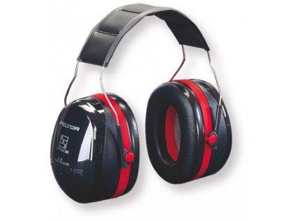 Sluchátka 3M Peltor Optime III - černé s červeným pruhem