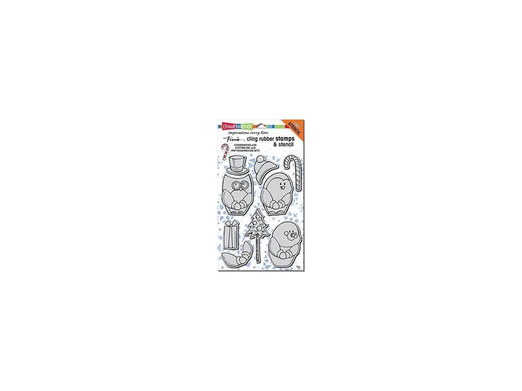 stampendous crs5091 winter friends cling rubber stamp set with template