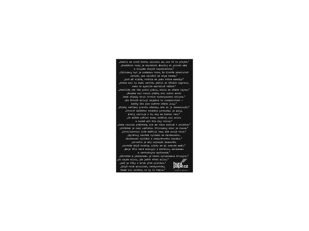 Hurá Papír - samolepky A5 / CITÁTY 2 / černé - Jestli se cítíš dobře...