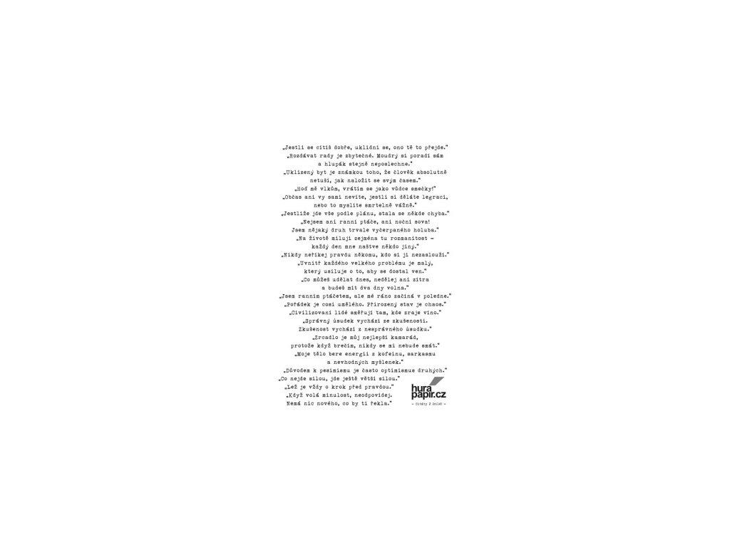 Hurá Papír - samolepky A5 / CITÁTY 2 / bílé - Jestli se cítíš dobře...
