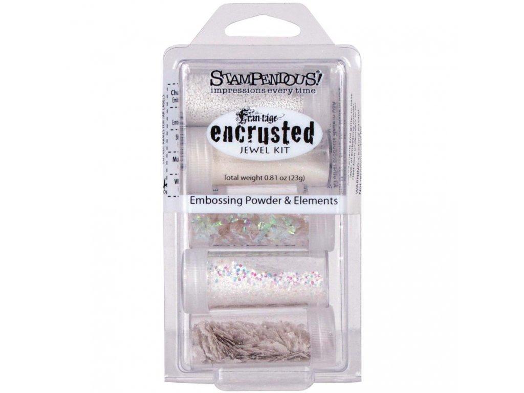 Stampendous - ENCRUSTED JEWEL WHITE KIT - sada 5 prášků na horké embossování + glitry