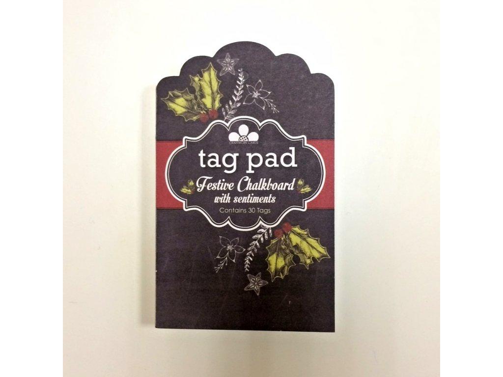 Craftwork cards - FESTIVE CHALKBOARD / tag pad - papírové visačky