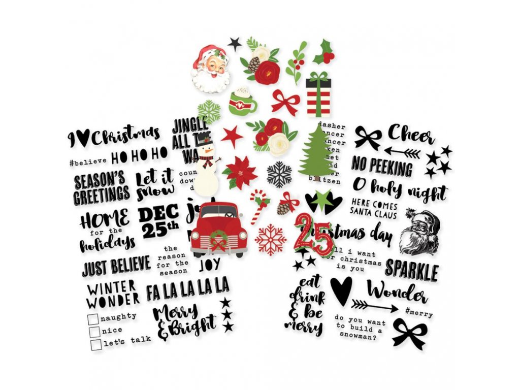 Simple Stories - VERY MERRY / CLEAR STICKERS   - samolepky
