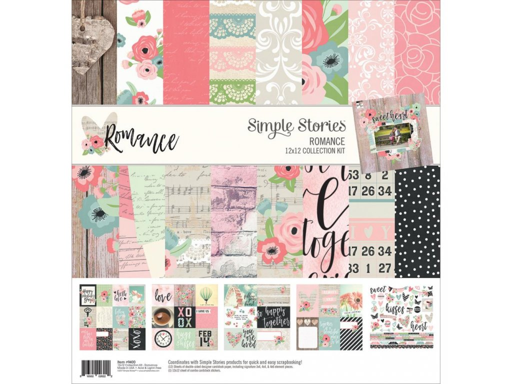 """Simple Stories - ROMANCE - 12"""" kompletní scrapbooková sada"""