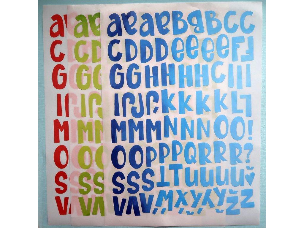 Hurá Papír - samolepky 3x A4 / VELKÁ ABECEDA, 3 barevné varianty