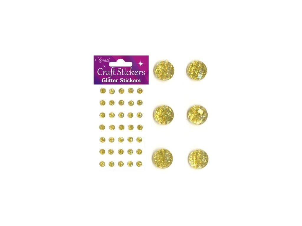 Craft Stickers - GLITTER STICKERS / GOLD - zlaté samolepicí kamínky s glitry