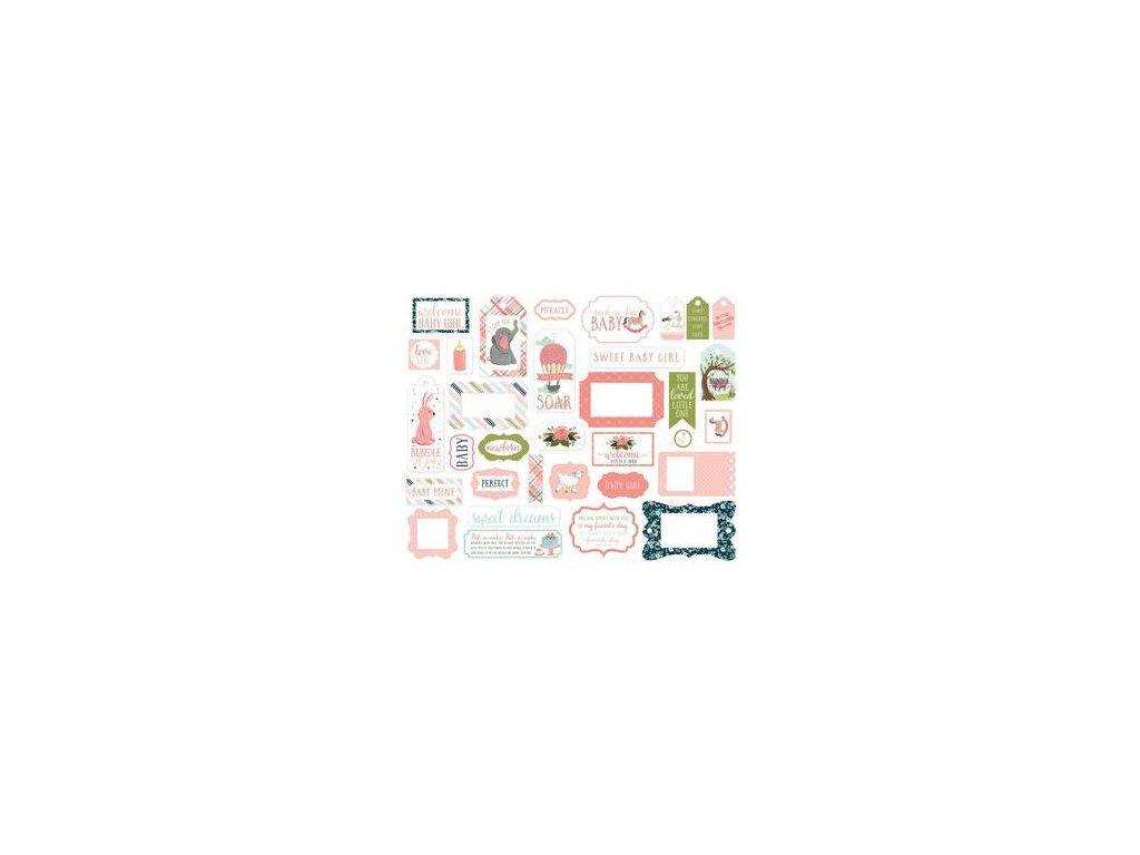 Carta Bella - ROCK-A-BYE BABY / GIRL / 2 - papírové výseky, 33 ks