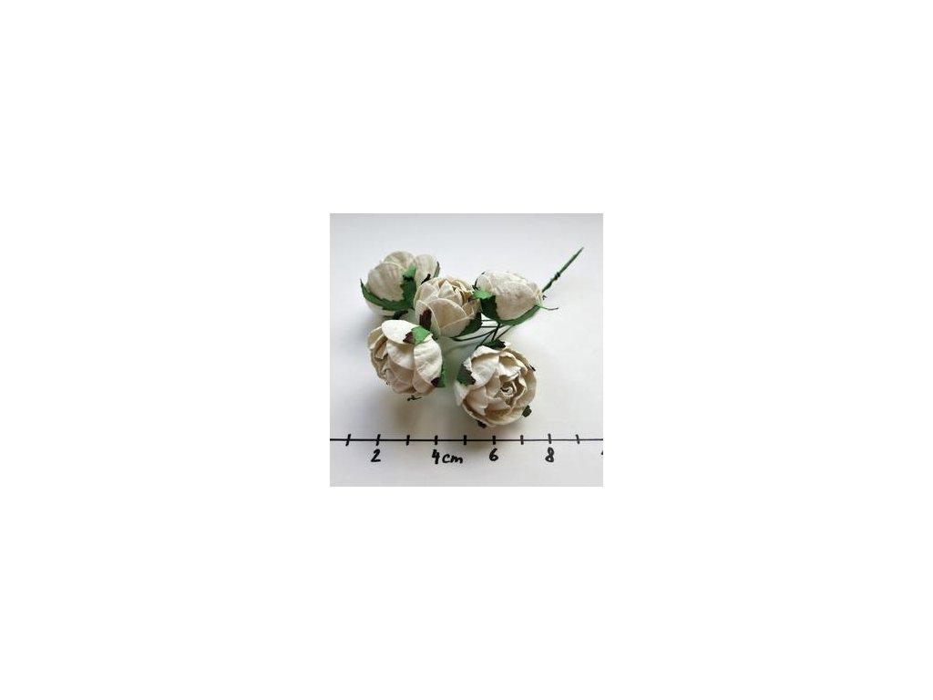 WHITE ENGLIGH ROSES / 5 ks - papírové kytky