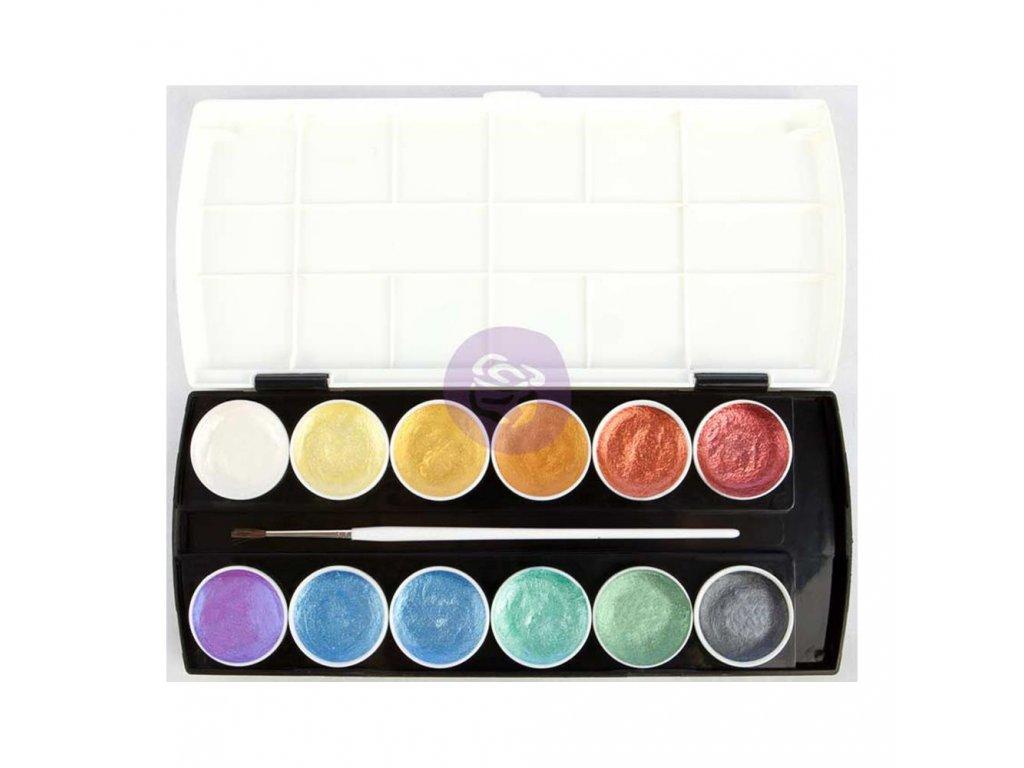 Prima Marketing -  METALLIC ACCENTS / Cakes & Brush - 12 pánviček s perleťovou  barvou