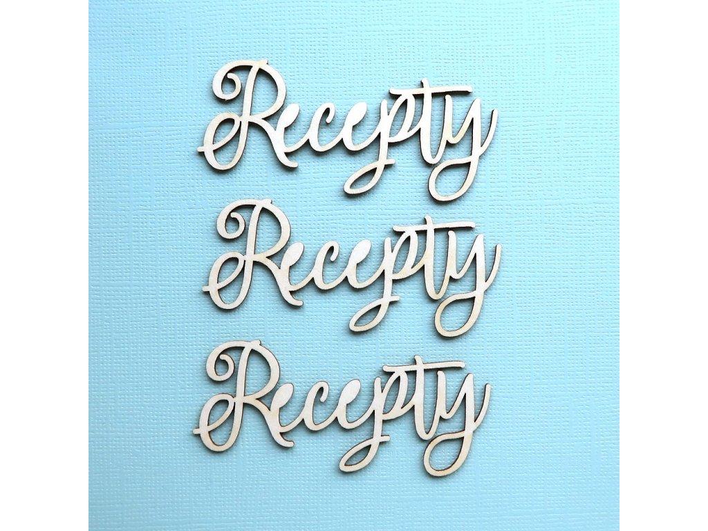 Hurá Papír - kartonové výseky / RECEPTY - 5,5 x 2 cm; 3 ks