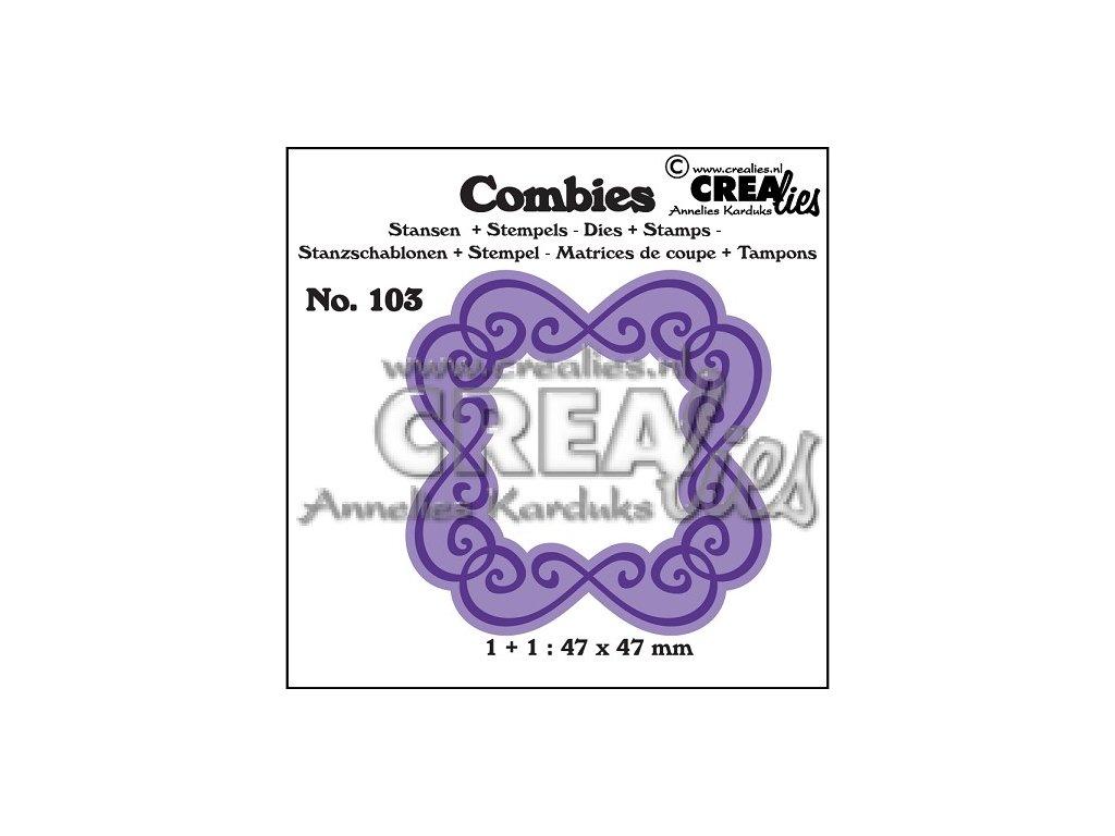 Crealies - COMBIES 103 - vyřezávací kovová šablona + silikonová razítka