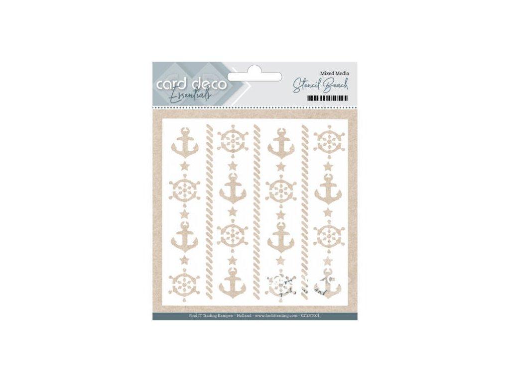 "Card Deco - STENCIL BEACH - 6"" šablona / maska"